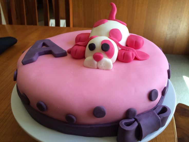 Puppy dog birthday cake for children. Pink & purple!