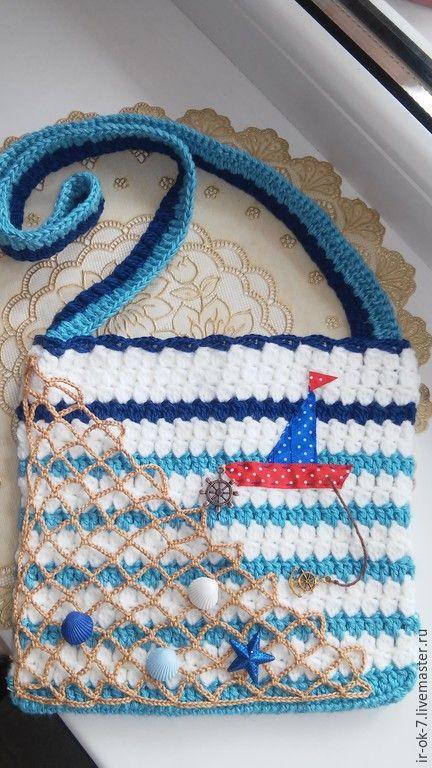 Купить Вязаная сумка в морском стиле детская - вязаная сумочка, сумочка крючком
