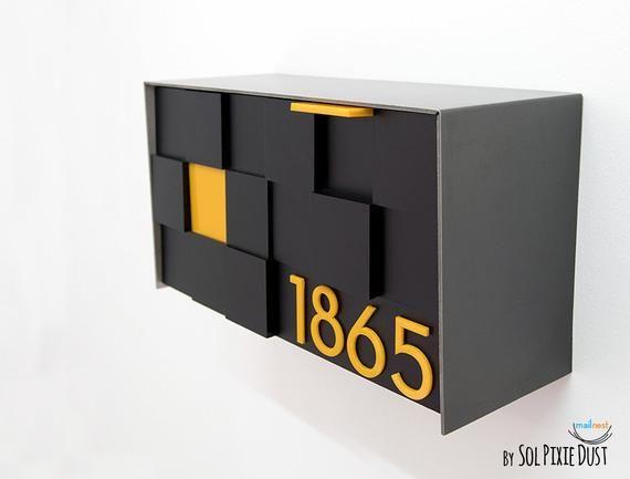 3d Modern Mailbox With 3d Face Aluminum Metallic Gray Body Etsy In 2020 Modern Mailbox Mounted Mailbox Wall Mount Mailbox