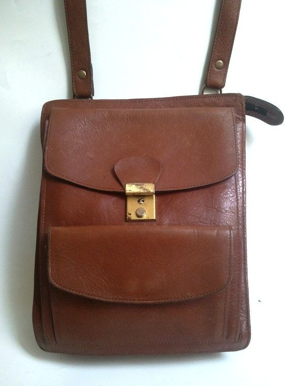 french vtg MESSENGER BAG  real leather / crossbody by lesclodettes, $55.00