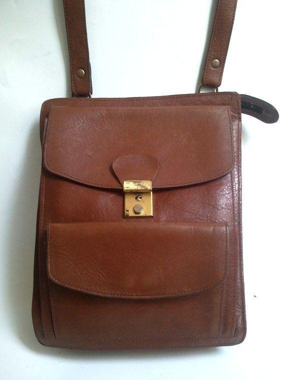 french vtg MESSENGER BAG  real leather / crossbody by lesclodettes, $55.00