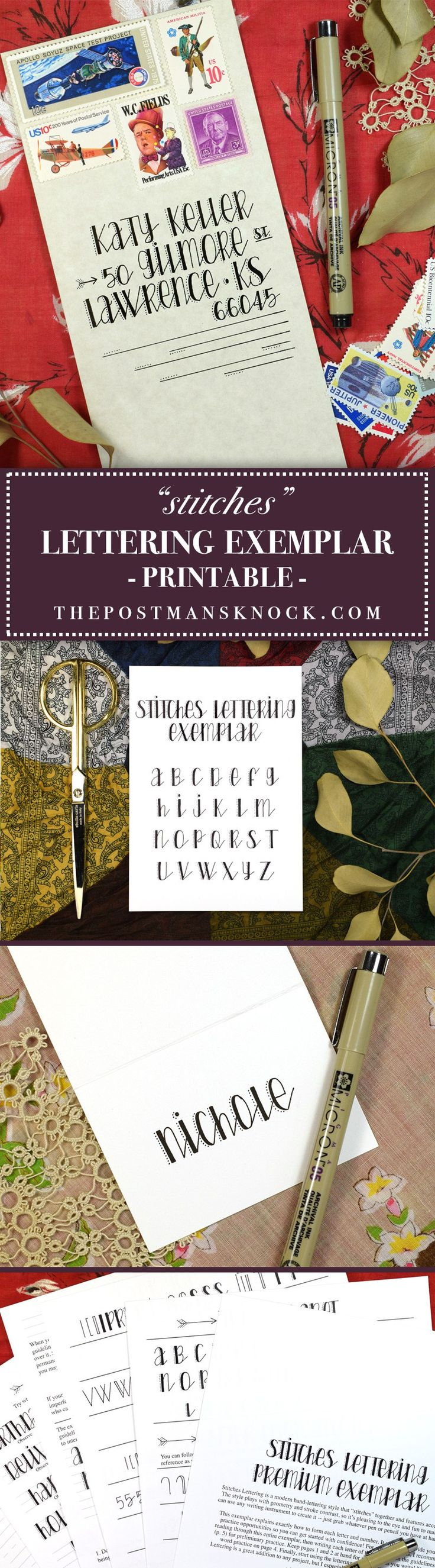 """""""Stitches"""" Printable Hand-Lettering Exemplars 