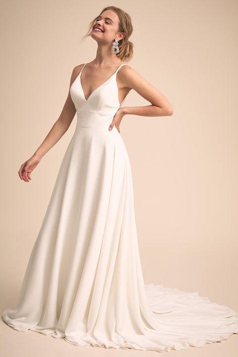 A-Line Spaghetti Straps Backless Wedding Dress 3e953bb7bf9f