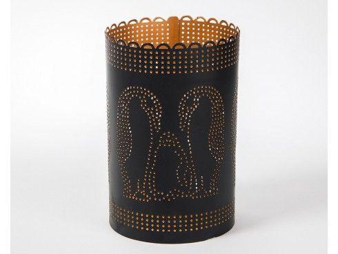 Crane Patterned Black and Gold Powder Coated Tea Light Holder