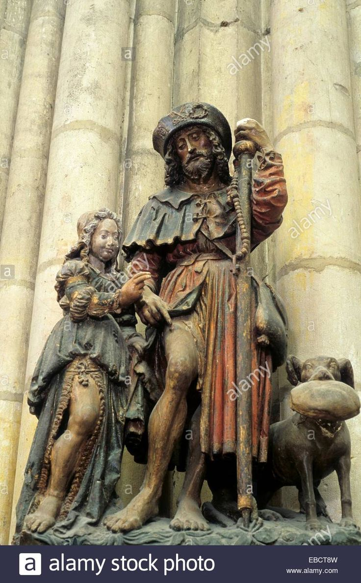Download this stock image: Statue en pierre polychrome Saint Roch XVIe siècle,basilique Saint-Urbain,Troyes,Aube,region - EBCT8W from Alamy's library of millions of high resolution stock photos, illustrations and vectors.