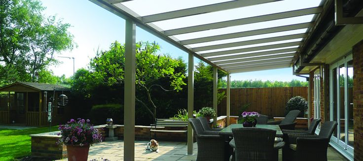 glass or polycarbonate roofing (concealed by bamboo screen which filters light)