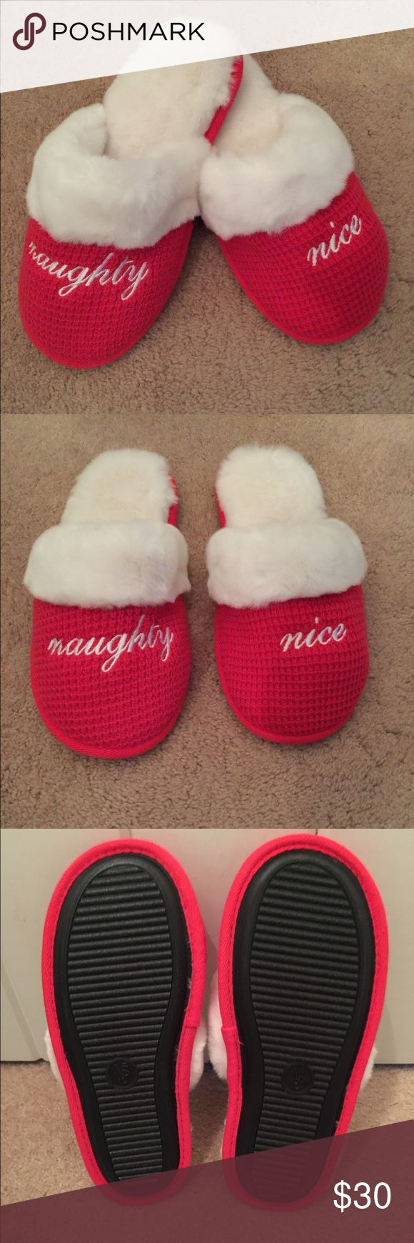 🆕  Victoria's Secret Naughty Nice slippers Victoria's Secret Naughty & Nice slippers NWOT waffle knit slip on style cozy fur lining & trim rubber sole never been worn Victoria's Secret Shoes Slippers