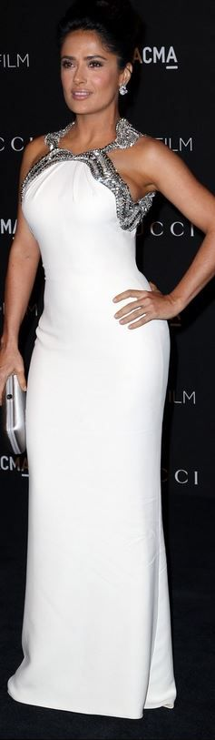 Who made Salma Hayek's white gown that she wore in Los Angeles on November 1…