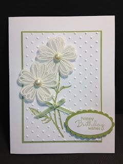 Beautiful Dotted Swiss White On White Card...with dimensional flowers...My Creative Corner!: 20 Minute Cards.