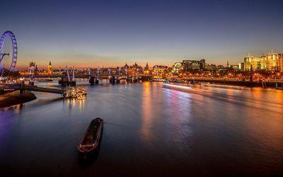壁紙をダウンロードする 橋, 川テムズ, テムズ, 観覧車, 町並み, 灯り, ロンドンアイ, 都市, 夜, ロンドン, イギリス, ビッグベン, 川