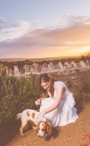 My dog on my wedding day. Lulu the cocker spaniel. Country wedding theme.