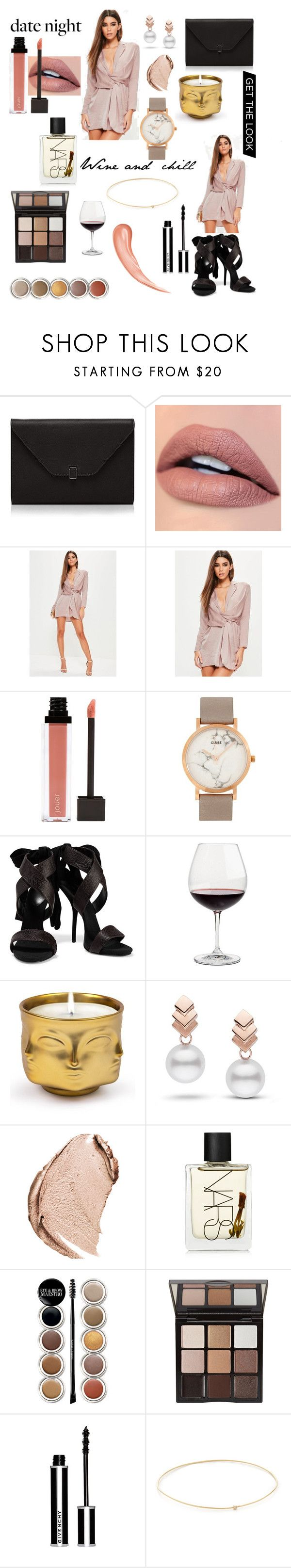 """""""Date night w/ my babe"""" by anamariahodinet on Polyvore featuring Valextra, Missguided, Jouer, CLUSE, Giuseppe Zanotti, Riedel, Jonathan Adler, Escalier, Christian Dior and NARS Cosmetics"""
