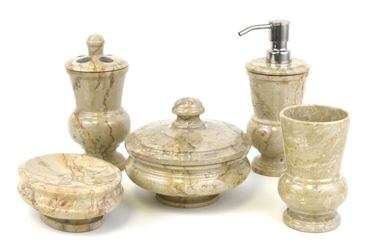Mediterranean 5 Piece Sahara Beige Marble Bathroom Accessory Set