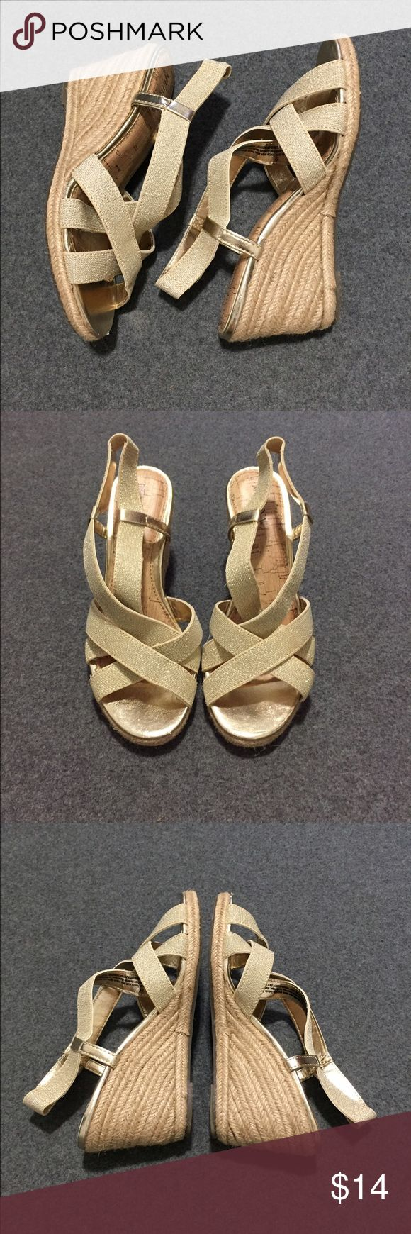 Gold Wedge Heels These Merona cork-wedge, sparkly gold heeled sandals feature elastic straps for comfort fit. Worn a handful of times, in great shape. Merona Shoes Wedges