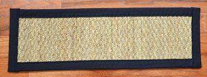 Dean Non-Slip Seagrass Beige Natural Fiber Carpet Stair Treads - Natural/Black (15) PLUS Tape