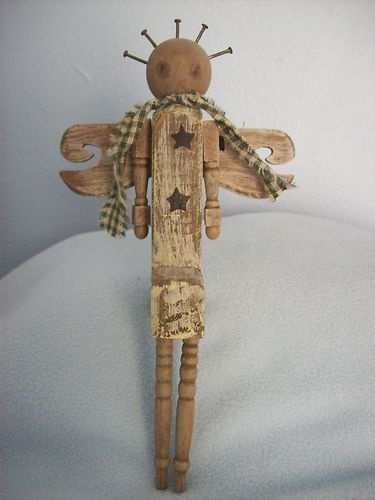 Wooden Primitive Chippy White Angel Shabby Spindle Arms Legs Shelf Sitter Chic