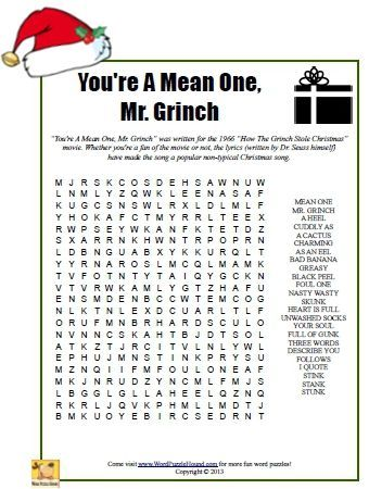free word search puzzle featuring vocabulary words from the grinch