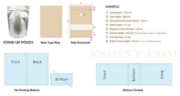 Download Stand Up Pouches Dieline Pouch Packaging Dielines Templates