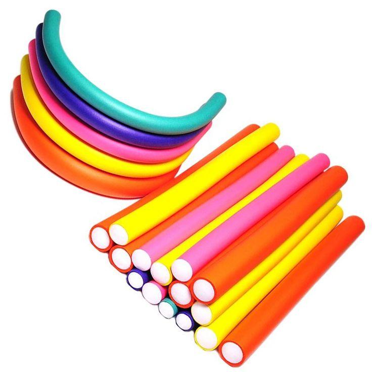 20 pcs/set Hair Curling Flexi rods Soft Foam Bendy Hair Roller Plastic Hair Curlers Spiral Magic DIY Styling Hair Sticks Tools