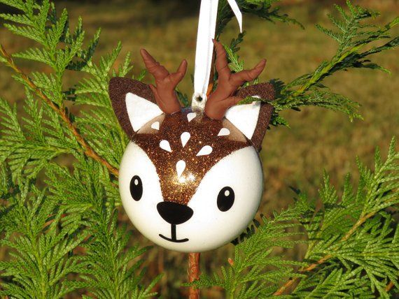 Cerf Noel Christmas ball deer, Santa's reindeer Christmas ball, first name
