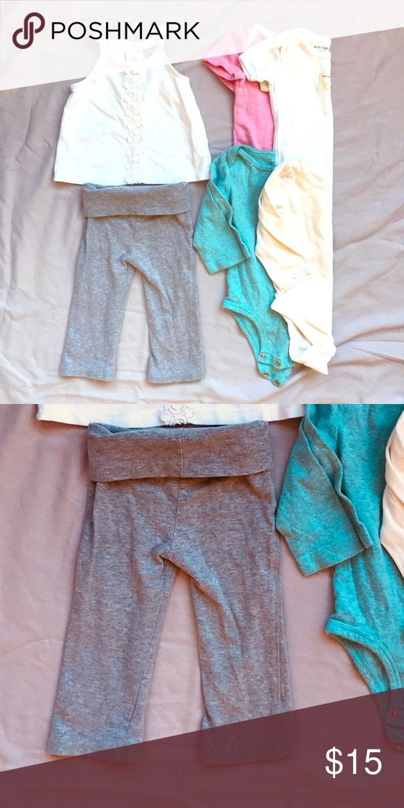 6 pieces Baby Yoga pants and onesies VGUC baby clothes. Lots of wear left! Burt's bees, Gap, Carter's Shirts & Tops