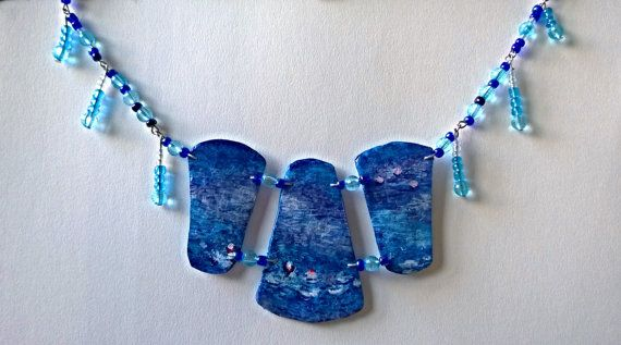 Hand Painted Necklace Blue Beads Abstract by PeculiarBoutique