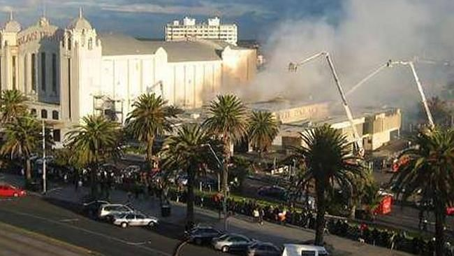 Fighters battle the blaze at St Kilda's Palace Nightclub on July 11, 2007.