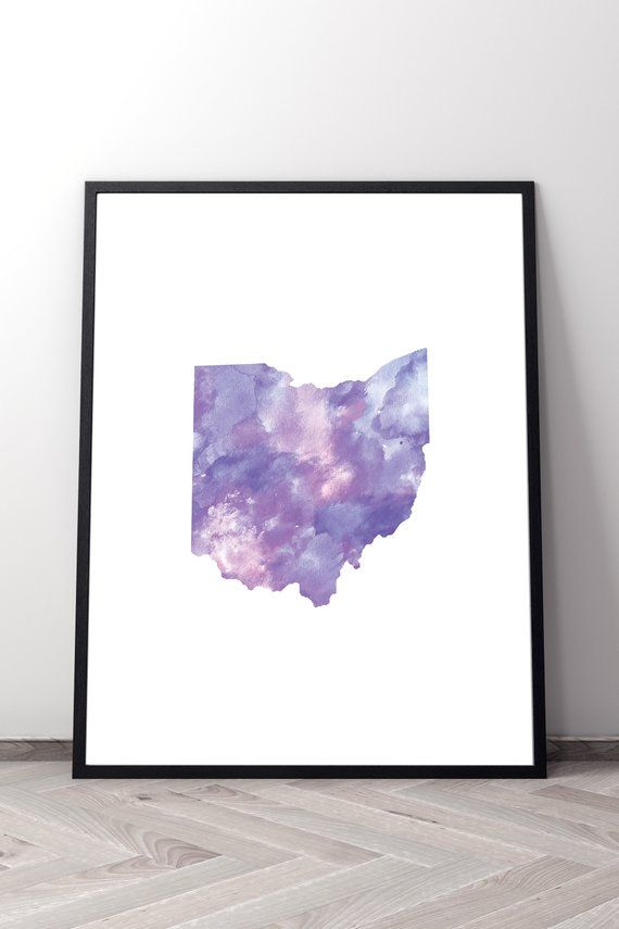 Purple State Map.Ohio Outline Map Print Oh State Printable Poster Watercolor Wall