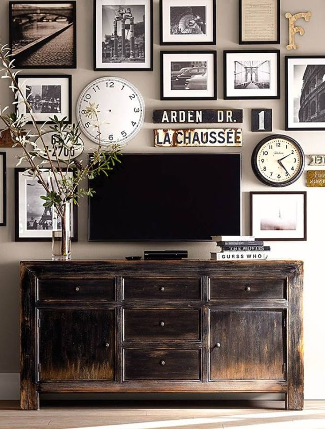 Pottery Barn gallery wall and media stand