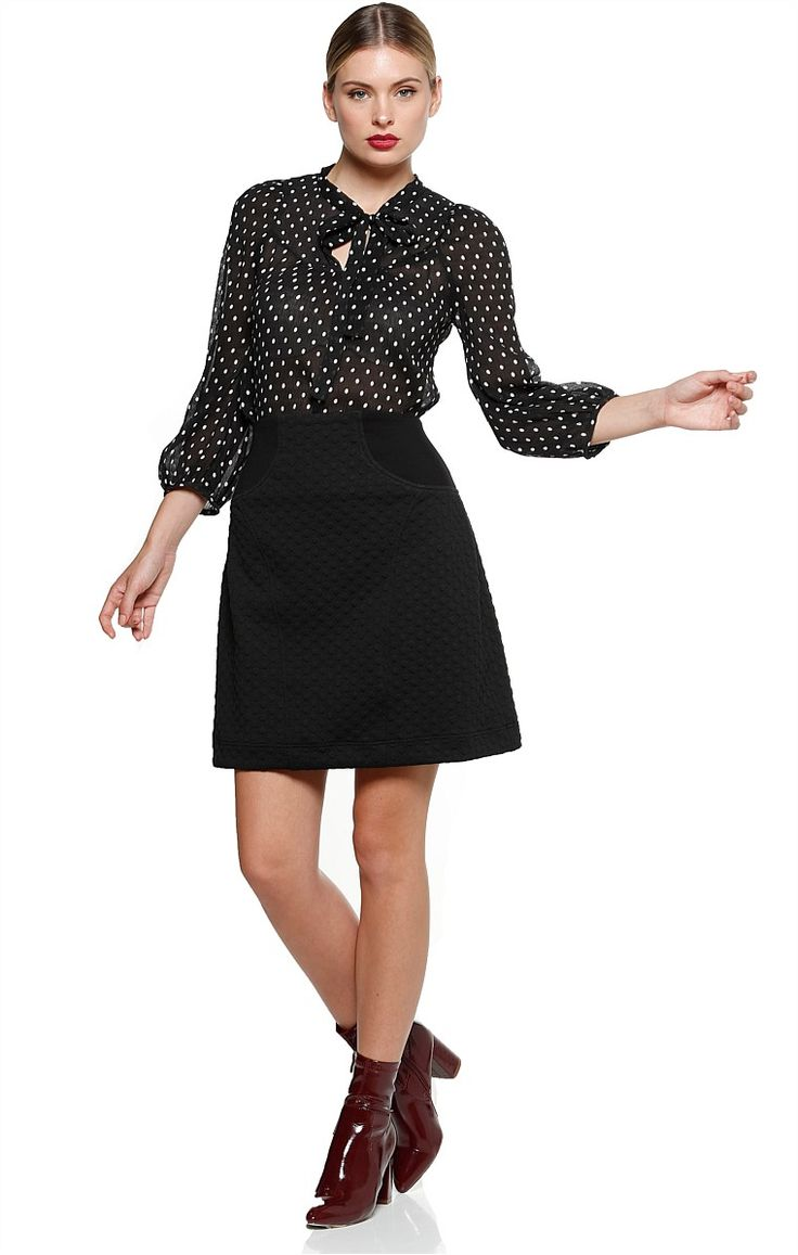 ARMANDO QUILTED SPOT ABOVE KNEE A-LINE SKIRT IN BLACK