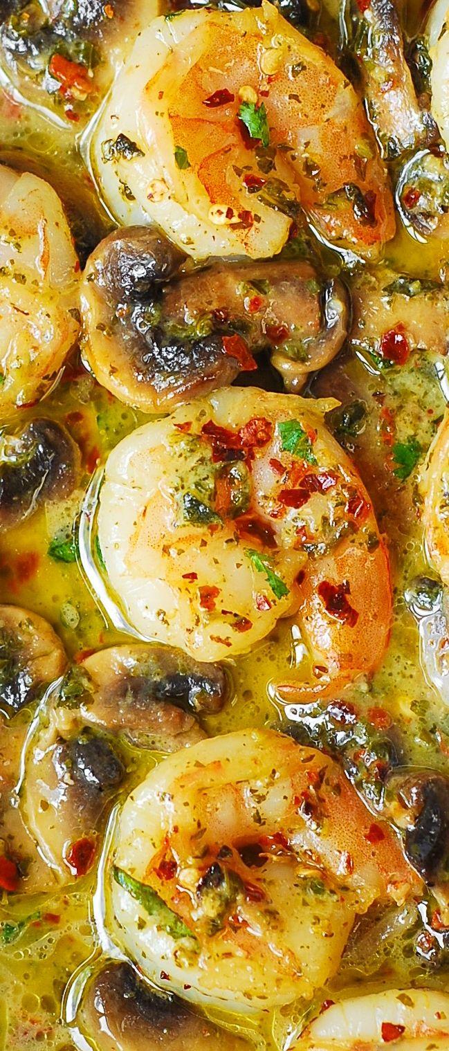 Pesto Garlic Shrimp with Mushrooms.  Easy dinner recipe.