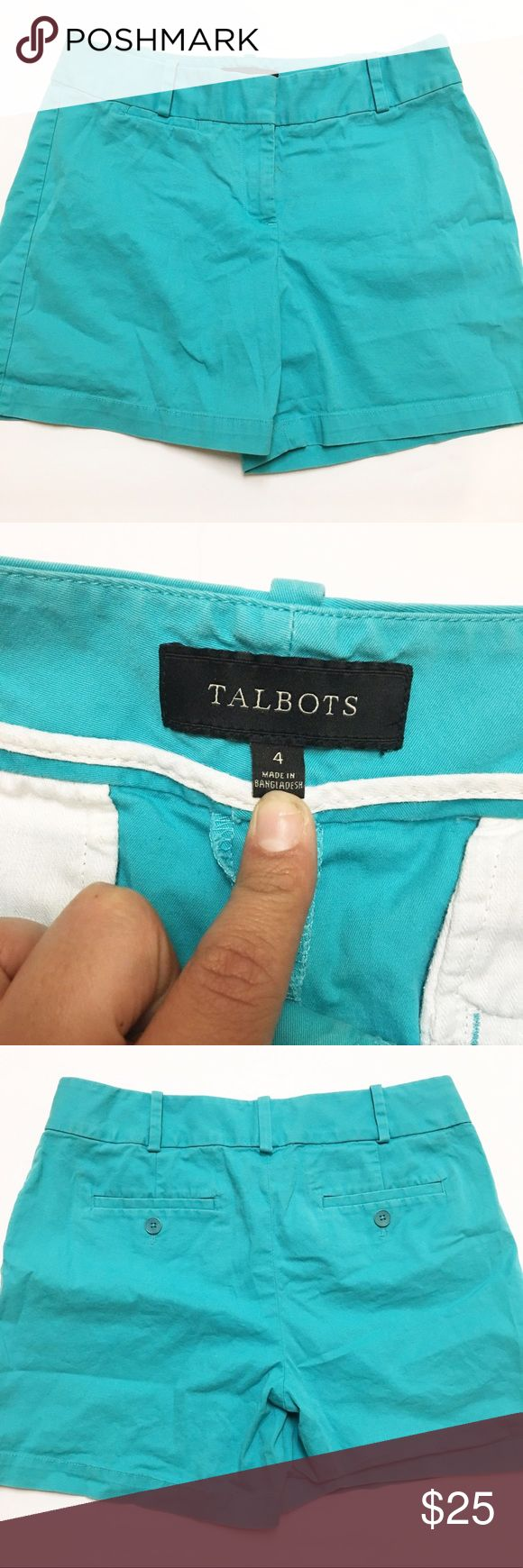 """Talbots Turquoise Khaki Shorts - Size: 4  - Material: Cotton/Spandex  - Condition: GUC, small mark near zipper  - Color: Turquoise  - Pockets: back, small pocket on front, stitched shut -Stretch: Yes   *Measurements:  Waist: 16"""" Rise:9"""" Inseam: 5"""" Leg Opening: 12""""    * Almost all my prices are negotiable and no offer offends me! * Talbots Shorts"""