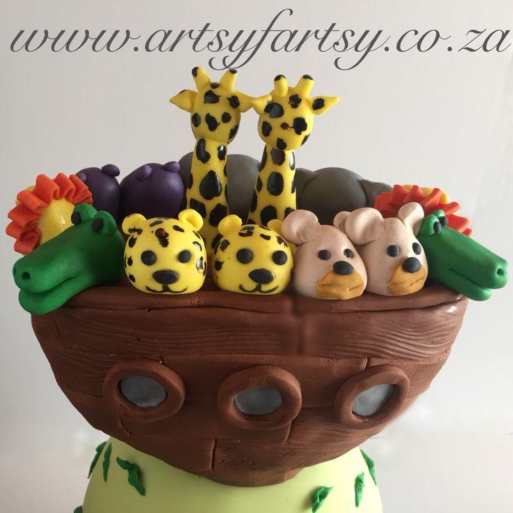 Noah's Ark Christening Cake #noahsarkchristeningcake