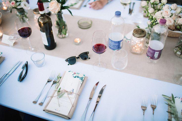 wedding in italy - wedding in tuscany - wedding reception - wedding table setting - wedding table decor - wedding menu - wedding calligraphy - olive branch decor  - wedding flowers - wedding floral decor - greenery - eucalyptus - white flowers - white wedding - wedding palette - wedding colors - wedding pastelph. Amanda Drost