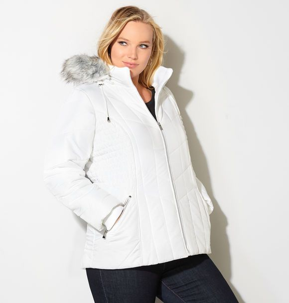 Stay warm and stylish with new puffer coats like the plus size Ruched Puffer Coat available online at avenue.com. Avenue Store