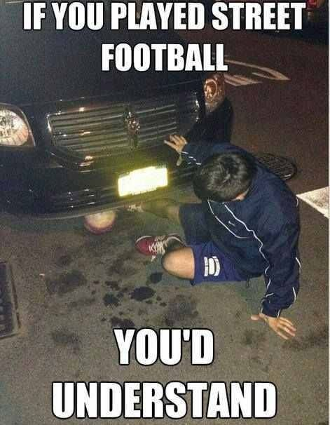 Street soccer is a all fun and games until the ball gets stuck under the cars