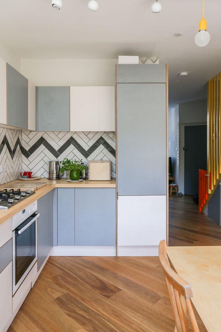 Chevron flooring, black and white zigzag, monochrome tiles, ply kitchen, grey laminated ply