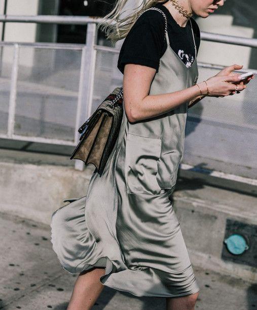 Dress: tumblr silver slip midi t-shirt black t-shirt over t-shirt bag gucci bag dionysus chain bag