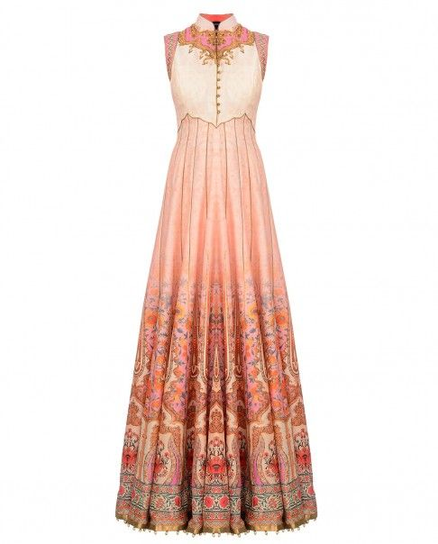 Printed and Embroidered Blush Pink and Cream Anarkali Suit - Mother's Day Special - Editor's Corner