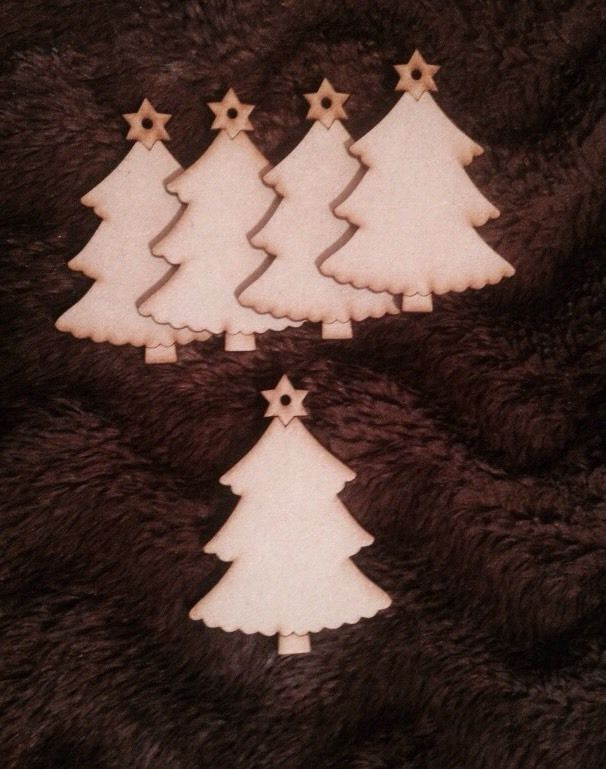 4,48+4,36 5x Trees - Christmas Xmas Wooden  Craft Blank Gift Tag