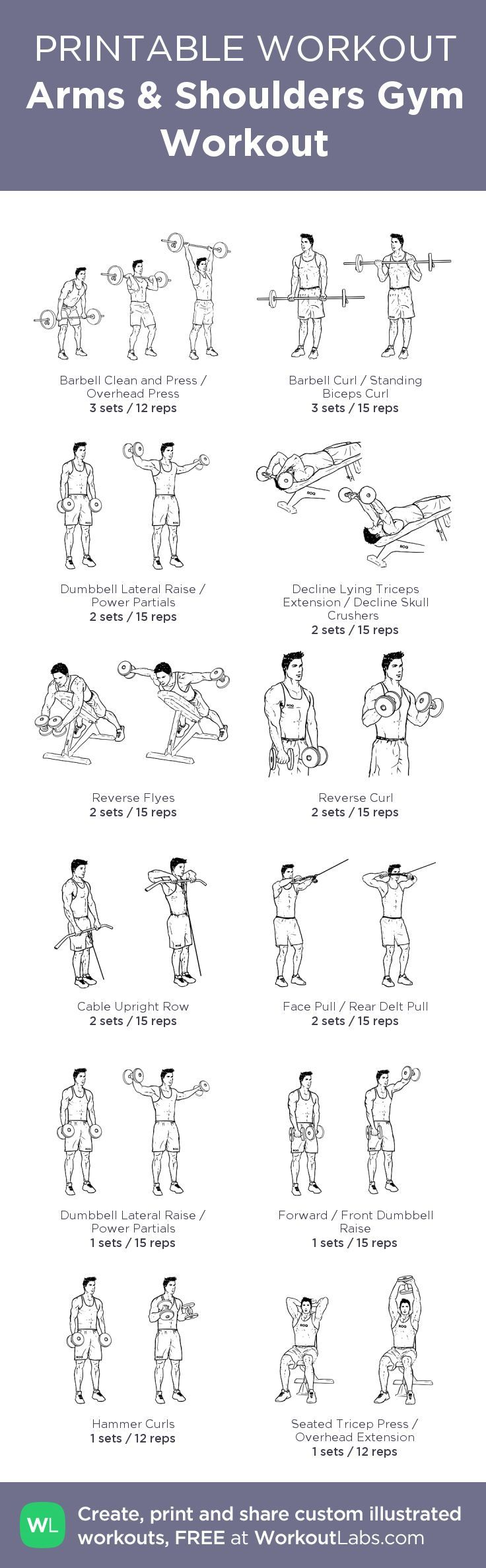 Arms & Shoulders Gym Workout – my custom workout created at WorkoutLabs.com • Click through to download as printable PDF! #customworkout