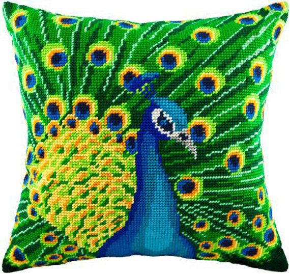 Peacock pillowcase cross-stitch DIY embroidery kit