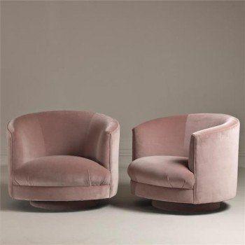 Rosa sammet-1960s Swivel Tub Chairs