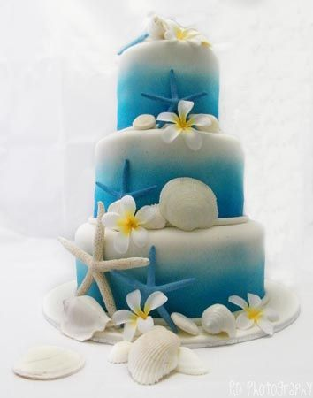 3 Tier Ocean Themed Wedding Cake | Beach Themed | Wedding Cake | Angel  Foods |