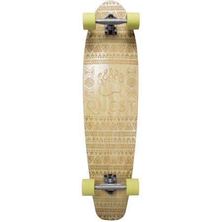 Quest 40 inch South Paw Longboard Skateboard, Beige