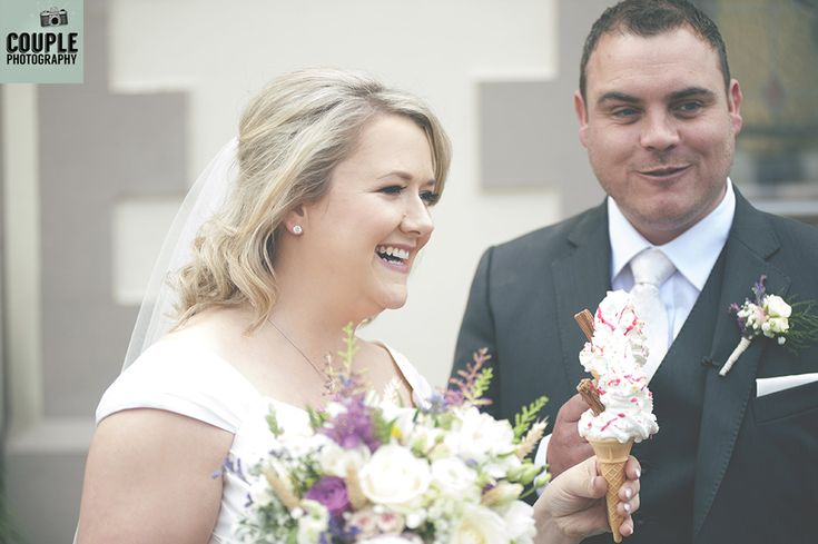 The bride & groom finally get an ice-cream! Weddings in Mayo, Photographed by Couple Photography.