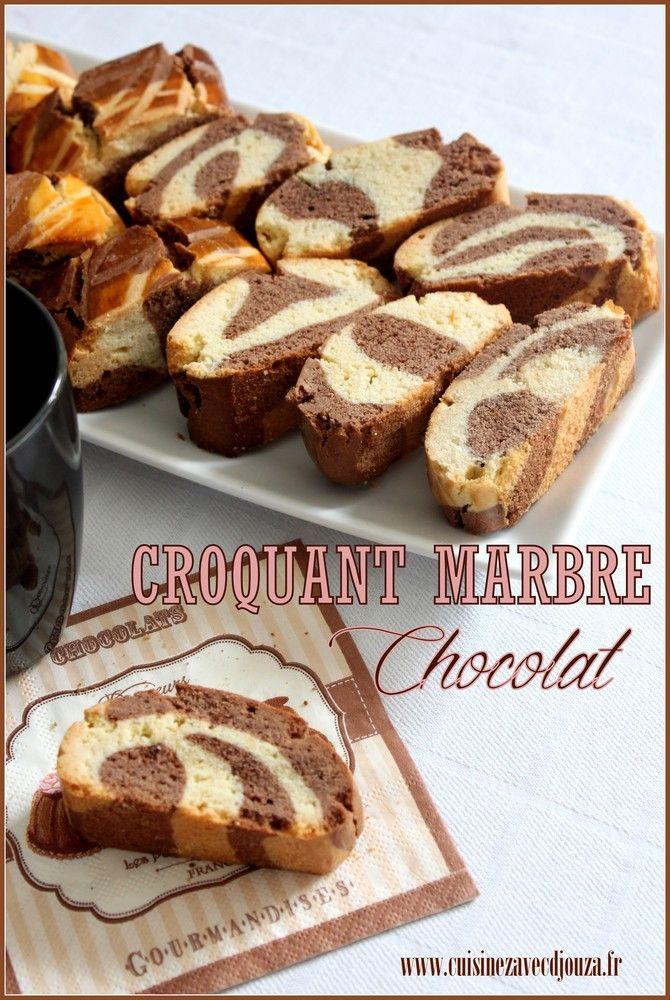 voici une recette de croquant ou croquet marbré, Au lieu de mettre le chocolat à l'intérieur, j'ai alterné bande blanche et bande chocolat. Bel effet zébré.