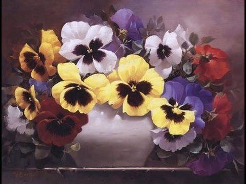 """мастер класс по живописи """" как нарисовать цветы анютины глазки """""""