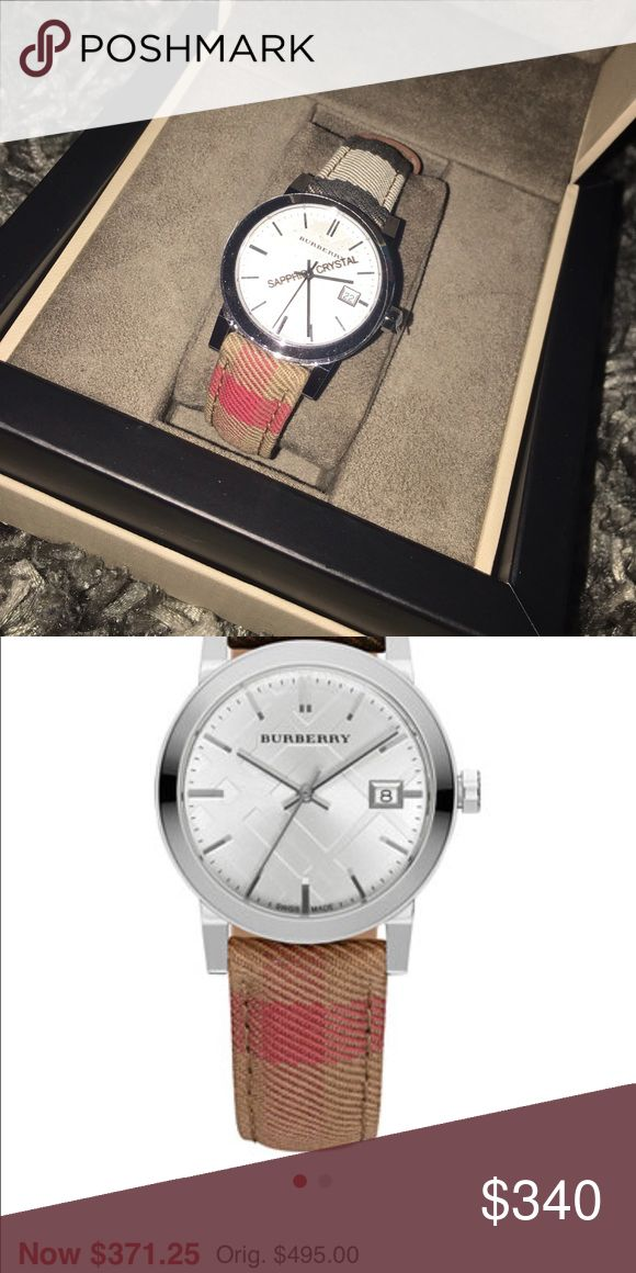 Burberry woman's watch NEW Round case, 34mm Silver-tone dial with stick indices, three hands, date window and logo Swiss Quartz Movement Fabric strap Antireflective Sapphire Crystal Burberry Accessories Watches