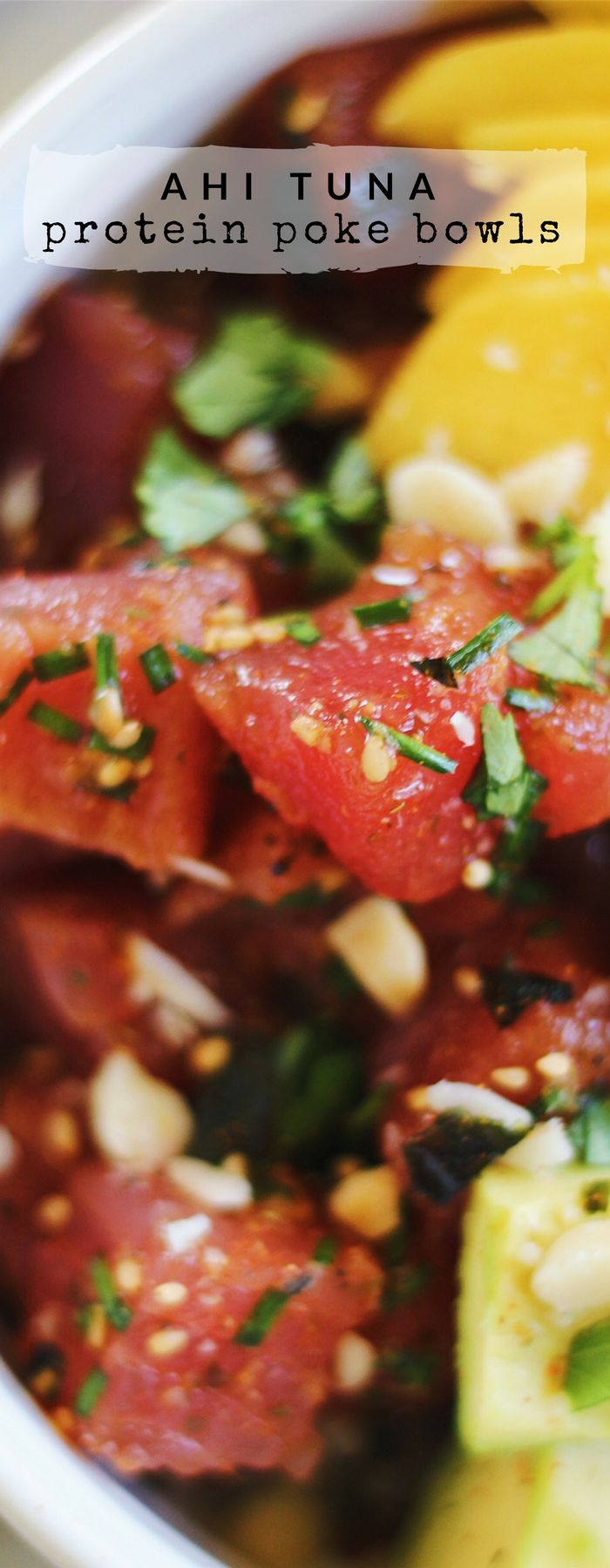 Ahi Tuna Protein Poke Bowls are full of bright, fresh umami flavors. These gluten-free bowls get an extra dose of protein thanks to an organic protein rice blend with brown jasmine rice, red quinoa, and lentils. Mahalo!